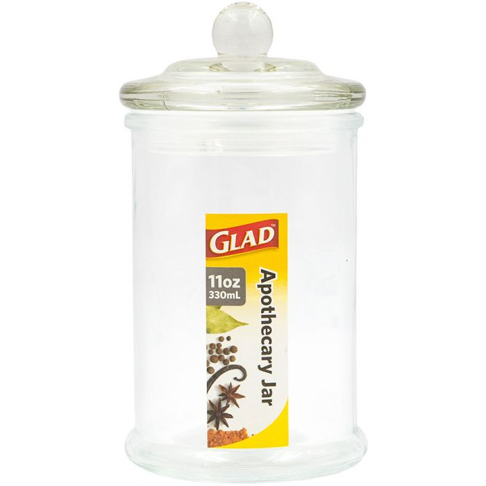 Glad Glass Apothecary Jar 11 Oz - Clear