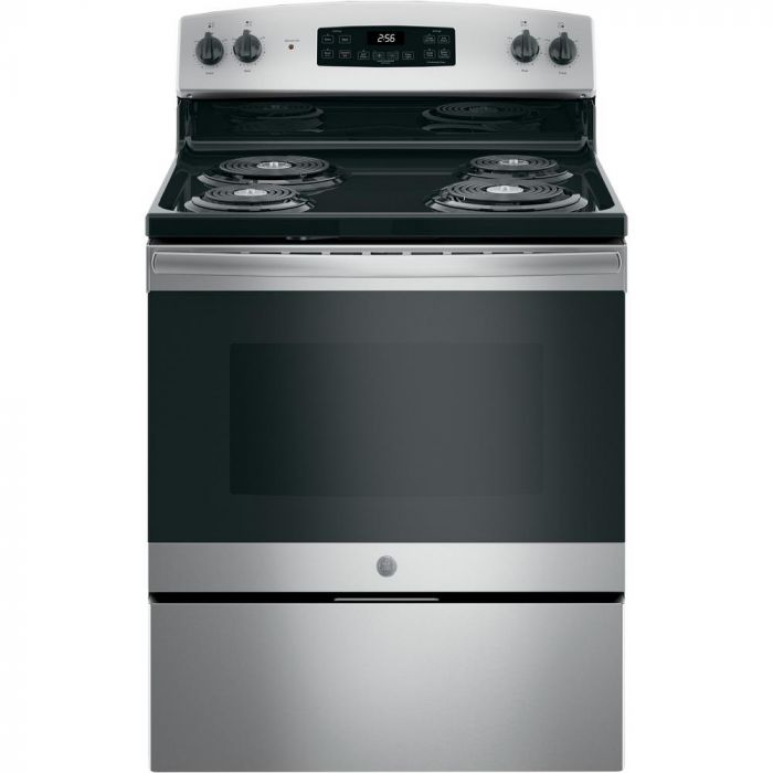 GE JB256RMSS 30 in. 5.0 cu. ft. Electric Range with Self-Cleaning Oven - Stainless Steel