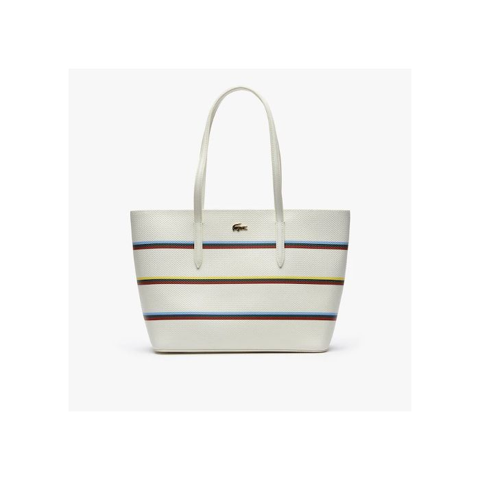 Lacoste Women's Chantaco Leather Tote Bag- Strip Multico Marshmallow