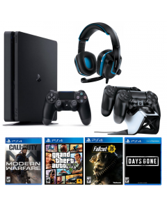PlayStation Bundle: Console + Wired Headset + Controller Charging System + 4 Games