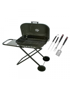 "BBQ Grill Bundle:  22"" Foldable Grill Square + Free BBQ Tool Set"