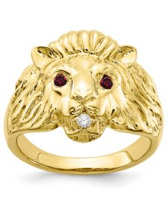10K Yellow Gold Lion Head Men's Ring