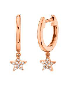 14K Rose Gold .04Ct Diamond Star Earrings