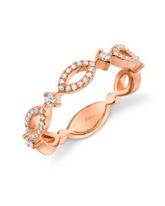 Shy Creation 14K Rose Gold .22Ct Diamond Ring