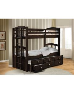 Tomas Twin - Twin Espresso Storage Bunk Bed with Trundle