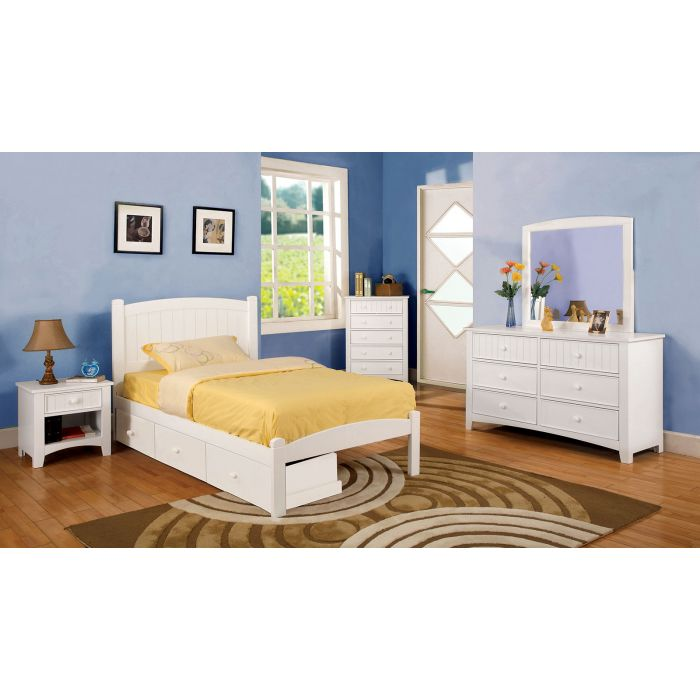 White 6PC Twin Bedroom Set