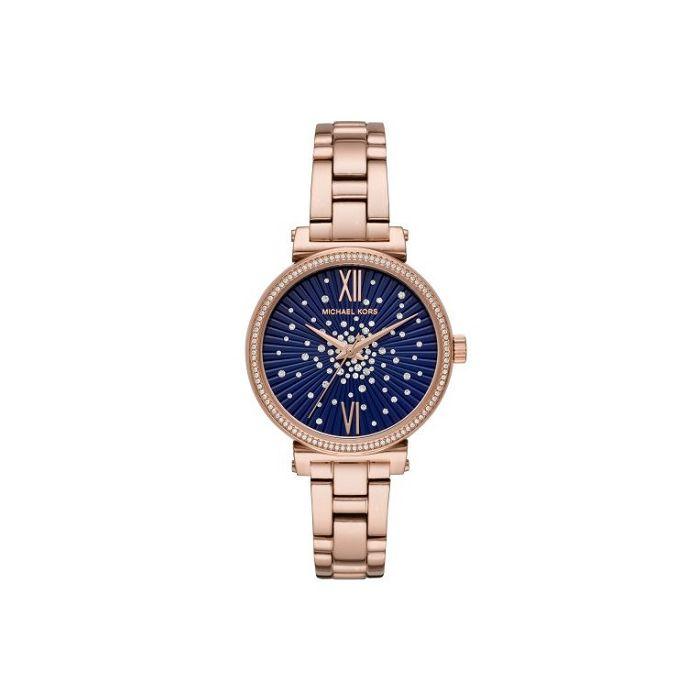 Michael Kors Women S Sofie Blue Dial Stainless Steel Bracelet Watch Rose Gold