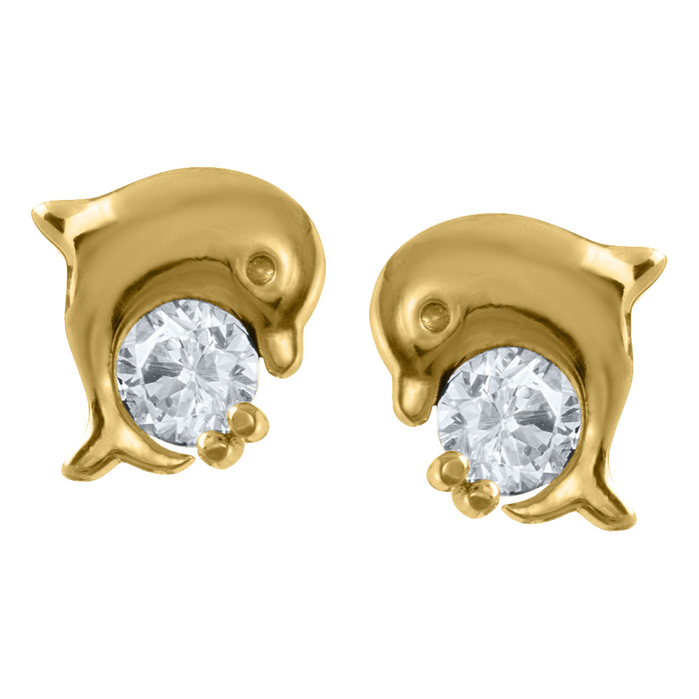 New 14k Yellow Gold Dolphin Love Earrings