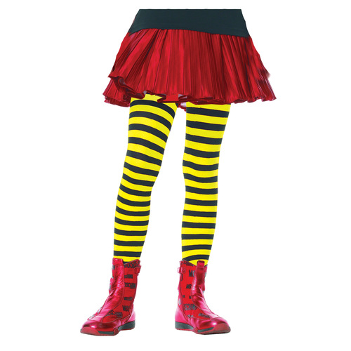 Tights Child Striped Bk/Yw 4-6