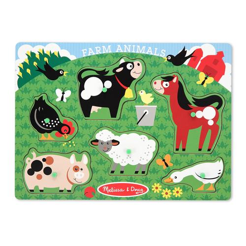 Melissa & Doug  Farm Animals Peg Puzzle 00JD7R045B