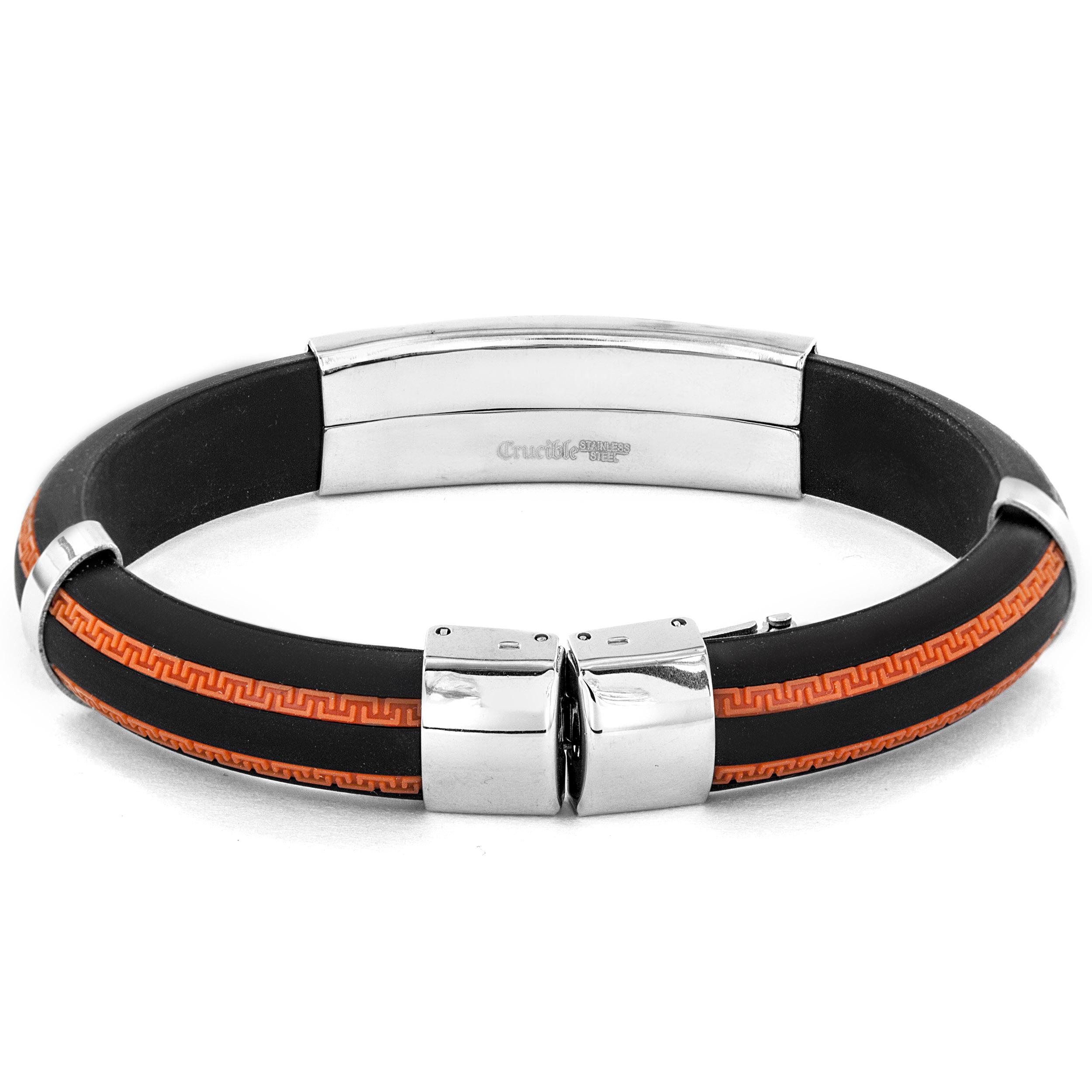 Crucible Stainless Steel and Orange Rubber ID Bracelet 00K9DA04BF