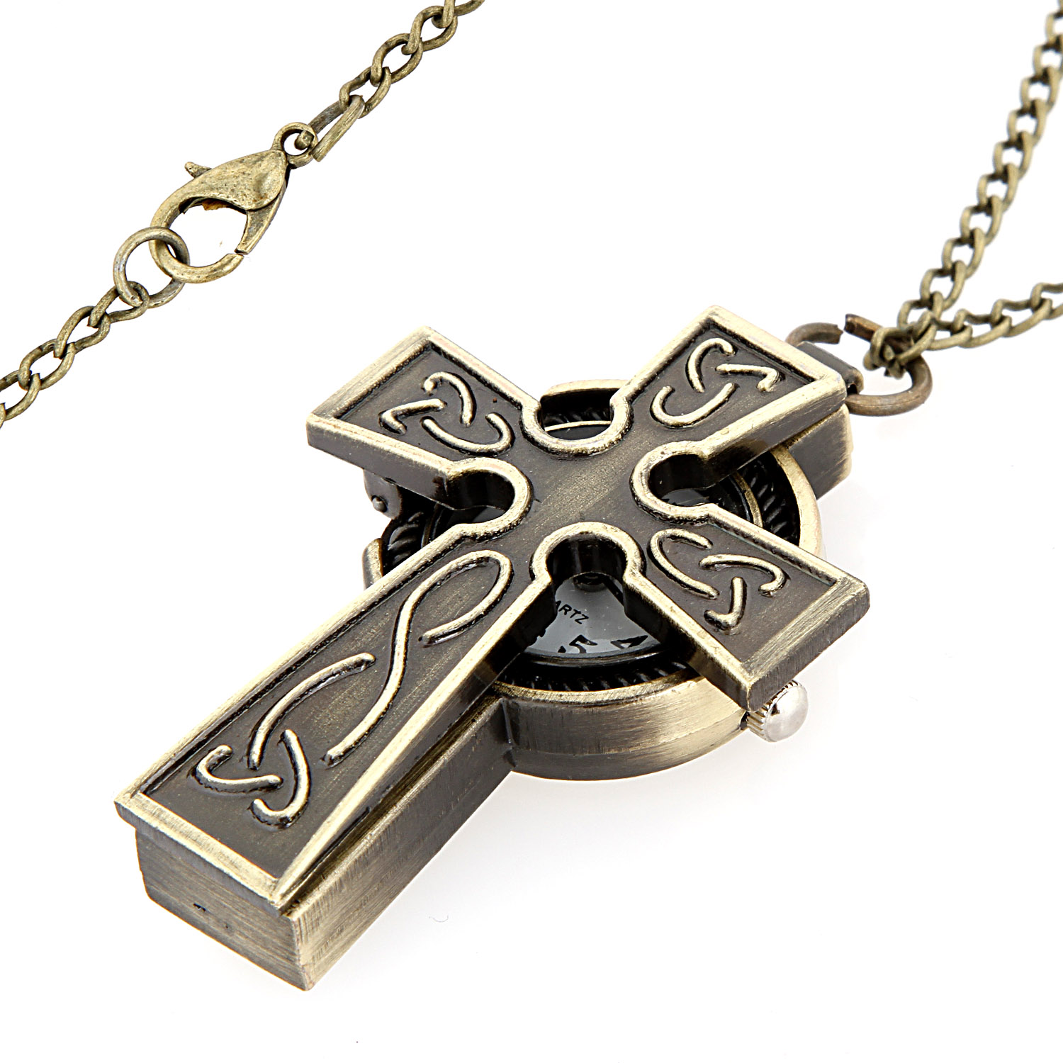 Steel Key and Goldtone Shield with Cross Pendant with Leather Necklace 00KB6G04BF