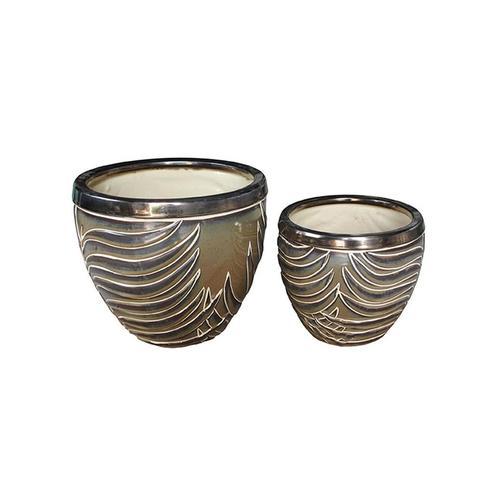 Crestview Soft Khaki Set of 2 Ambrosia Medium Vase 00L27O013C
