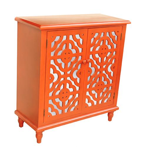 Crestview Rectangle Tangerine Orange 2 Door Mirrored Cabinet 00LFZI01A0