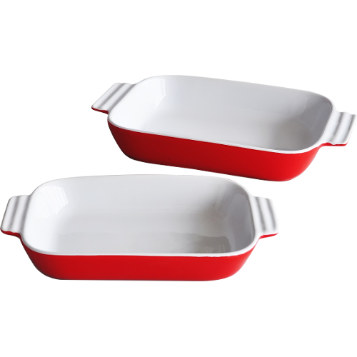 2-Piece Red Baking Plate Set