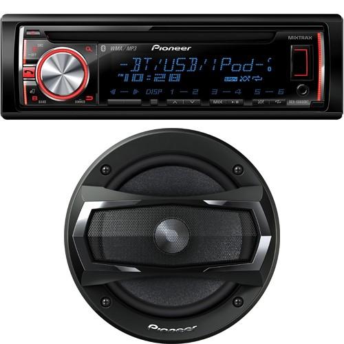 "Pioneer Car Bundle: DEHX6600BT In-Dash Player / LCD Display / Mixtrax / Bluetooth + TSA1675R 6.5"" 3-Way Speakers 300 Watts"