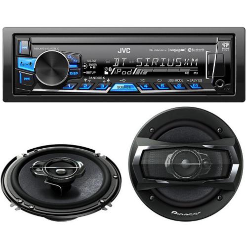 Car Stereo Bundle: JVC KDX320BTS USB/AUX In-Dash Receiver with Built-in Bluetooth + Pioneer TSA1675R 6.5