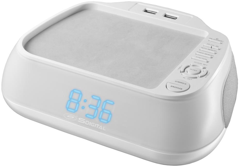 Digital Clock Radio with Dual USB Charging Station - White