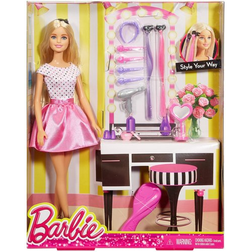 Mattel Barbie Doll and Hair Accessory Set 12D-766-DJP92