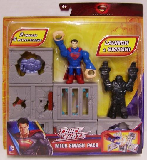 Mattel Man of Steel Quick Shots Mega Smash Pack Figures with Battle Blocks 12K-766-Y9223