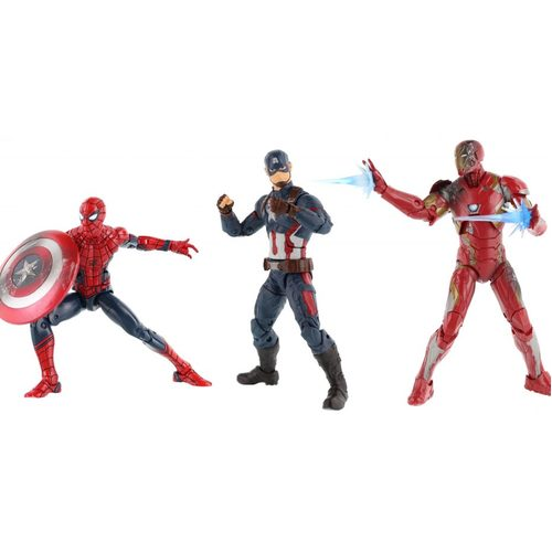 Captain America Civil War Marvel Legends Spider-Man, Captain America, and Iron Man Action Figure 3-Pack 12K-R30-HSB8215
