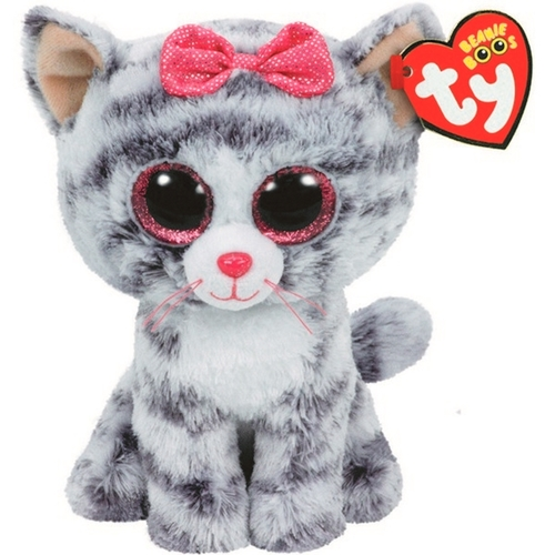 "Ty Beanie Boos 6"" Kiki the Tabby Cat - Grey 12P-DOE-37190"