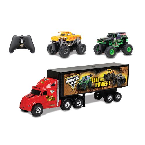 New Bright Radio Control S/F Hauler Set Car Carrier with Two Mini Monster Jam Trucks