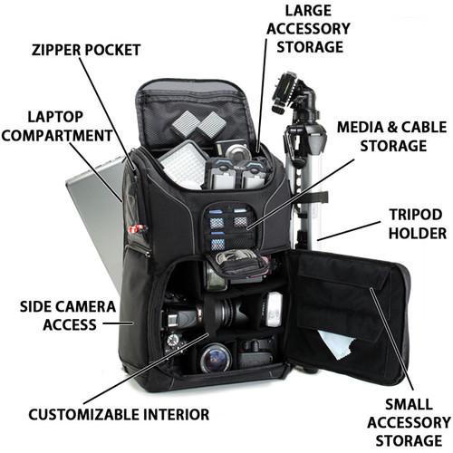 USA Gear S17 DSLR Camera Backpack - Black