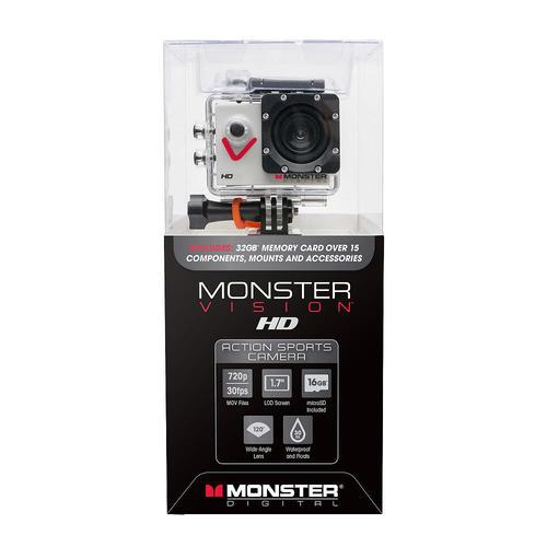 Monster Digital CAMVI0720A Vision HD Action Sports Camera / 720p / 8x Digital Zoom