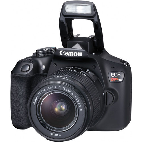 Canon EOS Rebel T6 DSLR Camera with 18-55mm and 75-300mm Lenses Kit - Black
