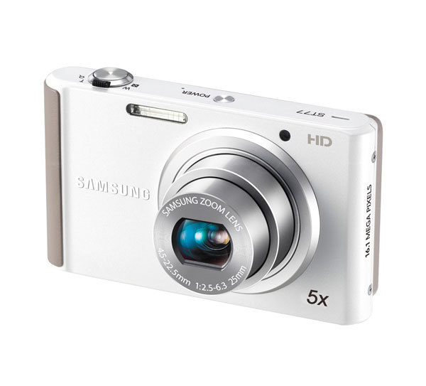 Samsung ECST77ZZFPWP Compact Digital Camera 16.1MP / 5x Optical Zoom / 2.7 LCD - White