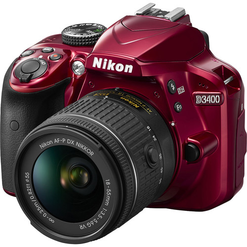 Nikon D3400 DSLR Triple Lens Parent's Camera Kit - Red
