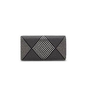 Vince Camuto Solan Studded Minaudiere Wallet - Shiny Silver/Black PU