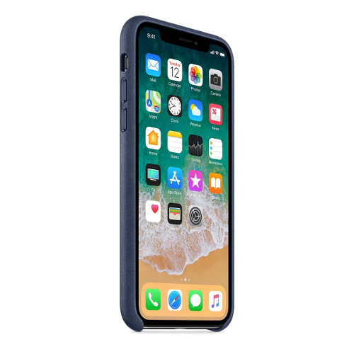Apple® iPhone X Leather Case - Midnight Blue