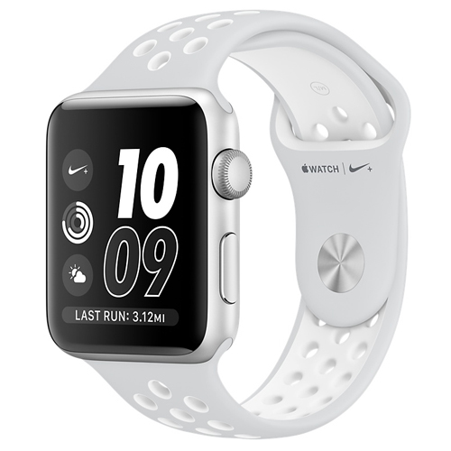 Apple® Watch 38mm Silver Aluminum Case with Pure Platinum/White Nike Sport Band 20W-O55-MQ172LL/A