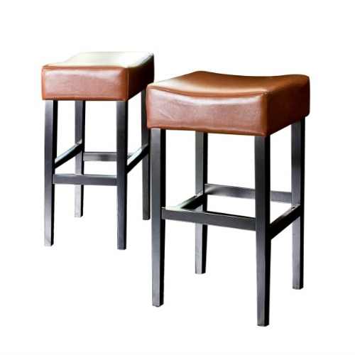 KD Bonded Leather Backless Barstool 2pc Hazelnut