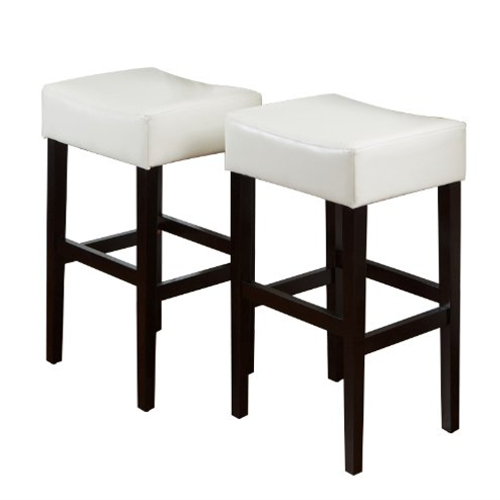 KD Bonded Leather Backless Barstool 2pc White