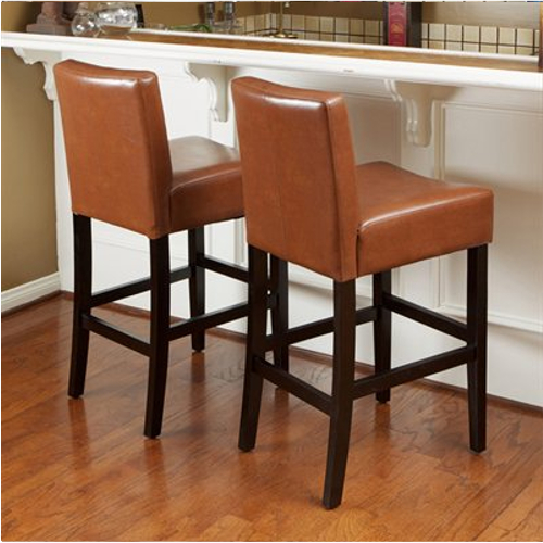 KD Barstool Bonded Leather 2 piece Set Hazelnut