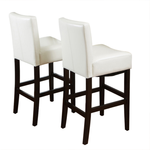 KD Bonded Leather Barstool 2pc Set White