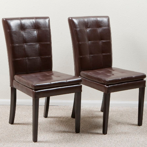 Barrington Leather Dining Chair 2 pc Set Brown