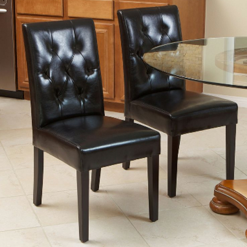 Gentry Leather Dining Chair 2pc Set Black