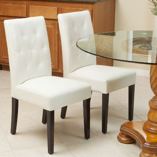 Gentry Leather Dining Chair 2pc Set White