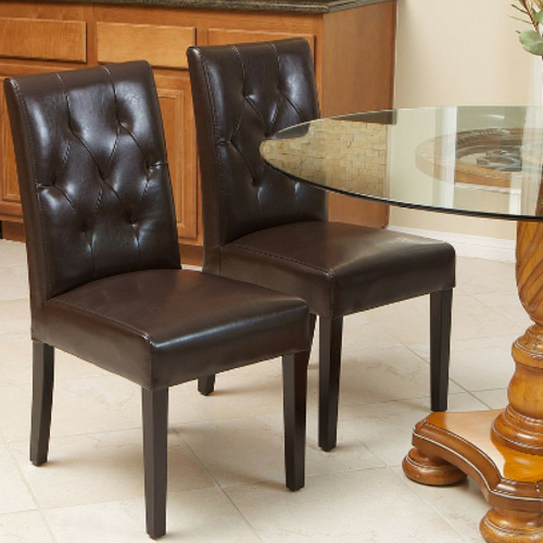 Gentry Leather Dining Chair 2pc Set Java