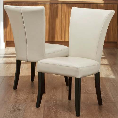 Stanford Leather Dining Chairs 2 pc Set Ivory