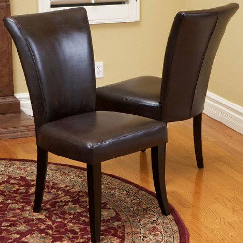 Stanford Leather Dining Chairs 2 pc Set Brown