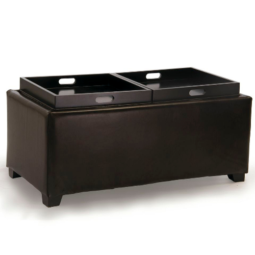 Maxwell Leather Tray Ottoman Brown