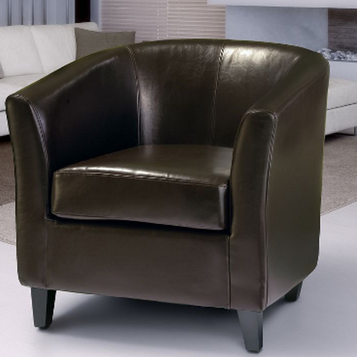 Preston Bonded Leather Club Chair Brown