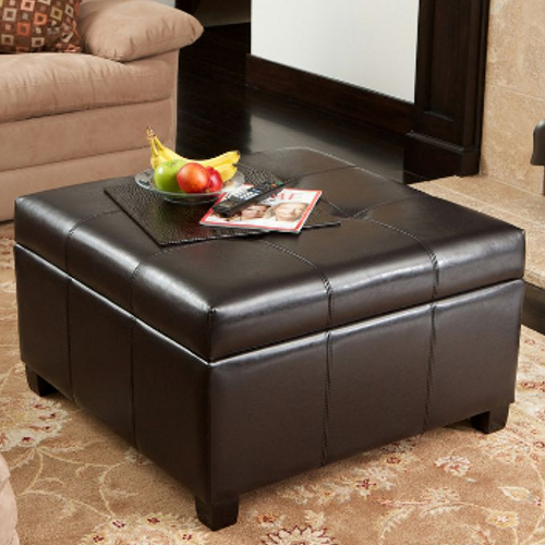 Richmond Leather Storage Ottoman Espresso