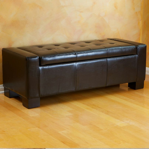 Guernsey Leather Storage Ottoman Black