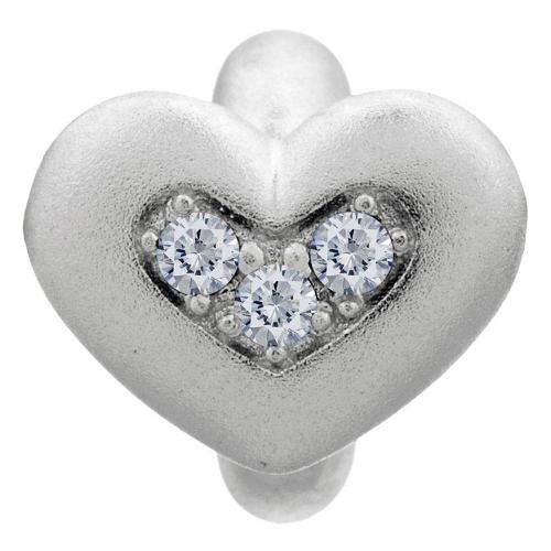 Endless Jewelry White Triple Love Charm - Silver